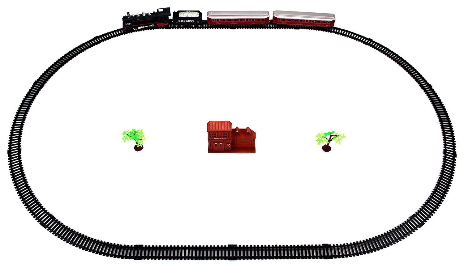 Classical Rail King 21 Piece Battery Operated Toy Train Set w/ Light, Sounds, 4 Train Cars, 10 Curved, 4 Straight Tracks, Accessories