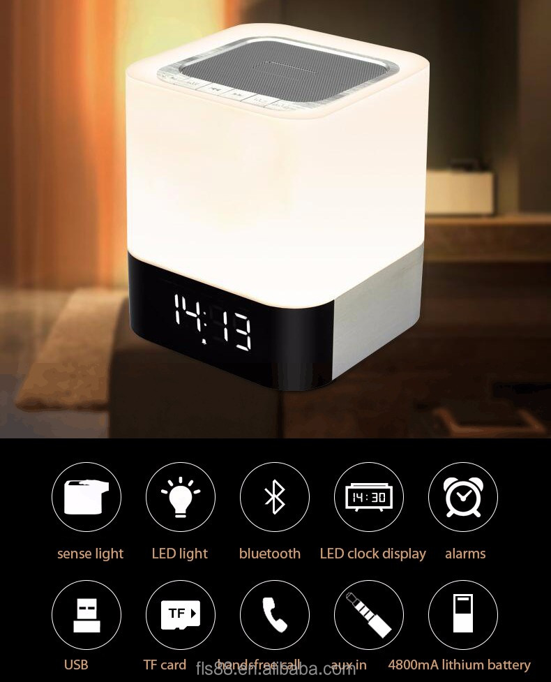Night Light Touch Sense LED Lamp Alarm Clock 5w Portable Ibastek Speaker