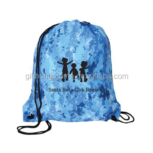 2018 High quality full color printing customized Multi-Purpose polyester drawstring sling bag