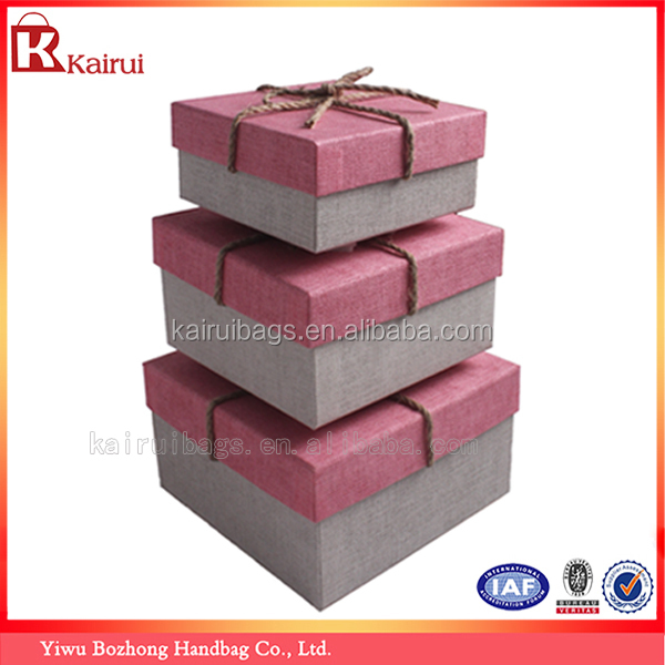 Custom Paper Cardboard Cosmetic Packaging Fancy Empty Linen Mache Gift Boxes Wholesale(Set of Three)