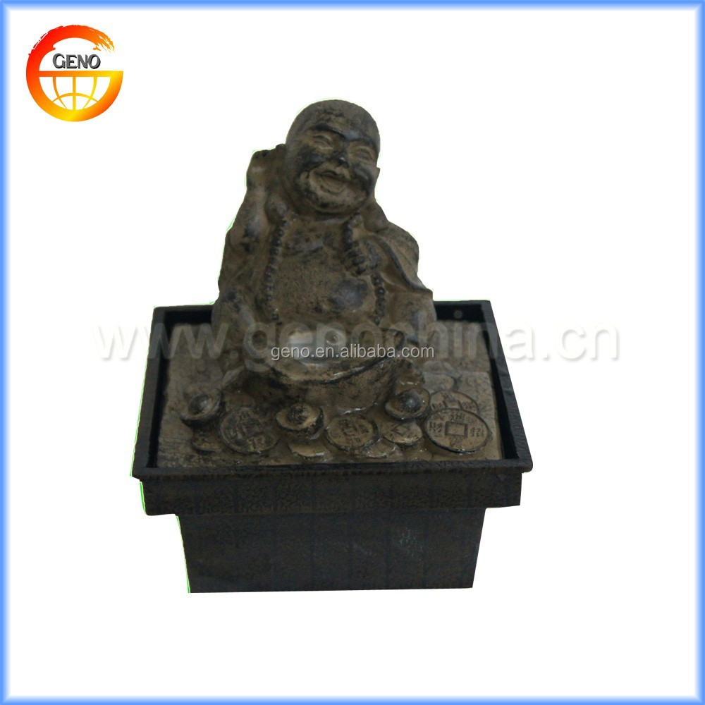 lucky buddha inside rock mini water fountain