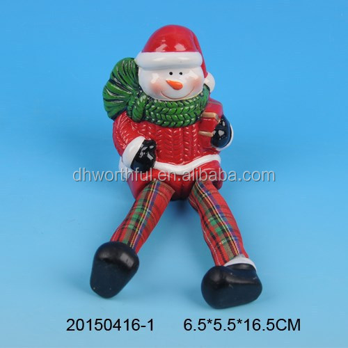 Ceramic red pottery christmas decoration in snowman shape