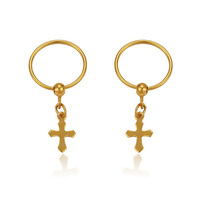 29056 xuping jewelry fashion 22 carat gold long cross earring