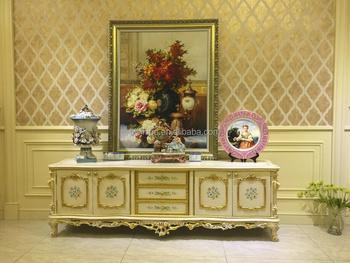 Antique European Style Living Room Tv Stand Gold Trim Floral Design