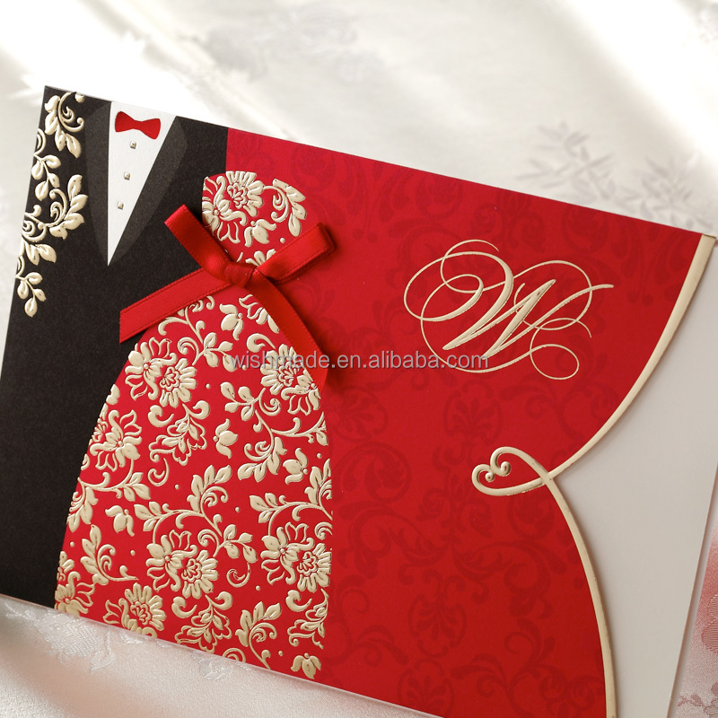 bride and groom embossed wedding invitation card CW1051