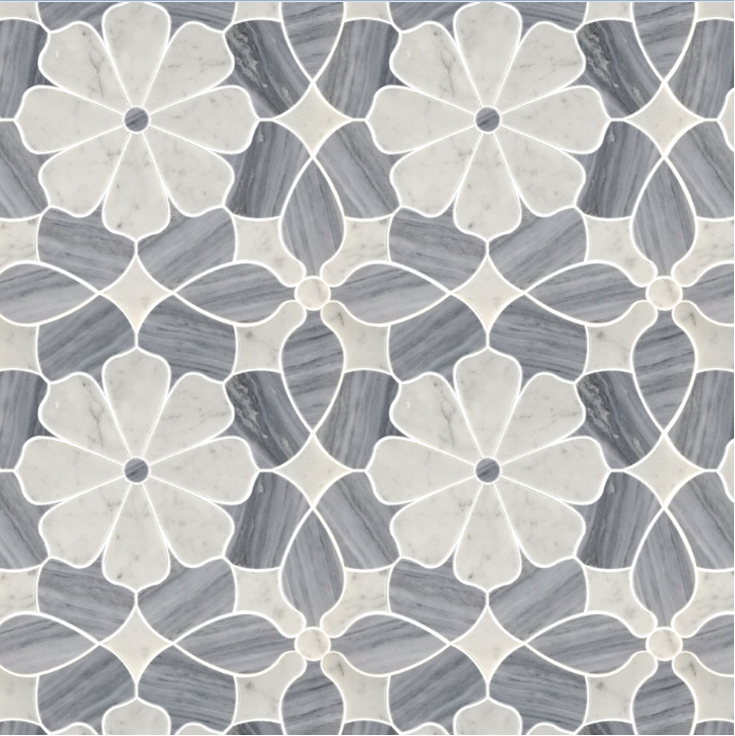 Polished Flower Marble Water Jet Mosaic Tiles