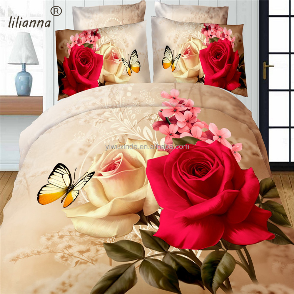 Wholesale alive 3D bedding sets rose flower & butterfly bedding set