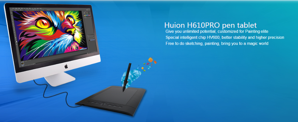 Huion H610 Pro 2048 Levels 5080lpi 8 Express-keys Graphic Tablet Drawing  Pen Tablet With Rechargeable Pen - Buy Graphic Tablet,Drawing Pen