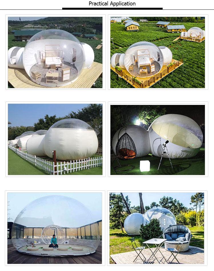 Barraca transparente de acampamento exterior inflável da bolha do espaço livre da barraca da abóbada