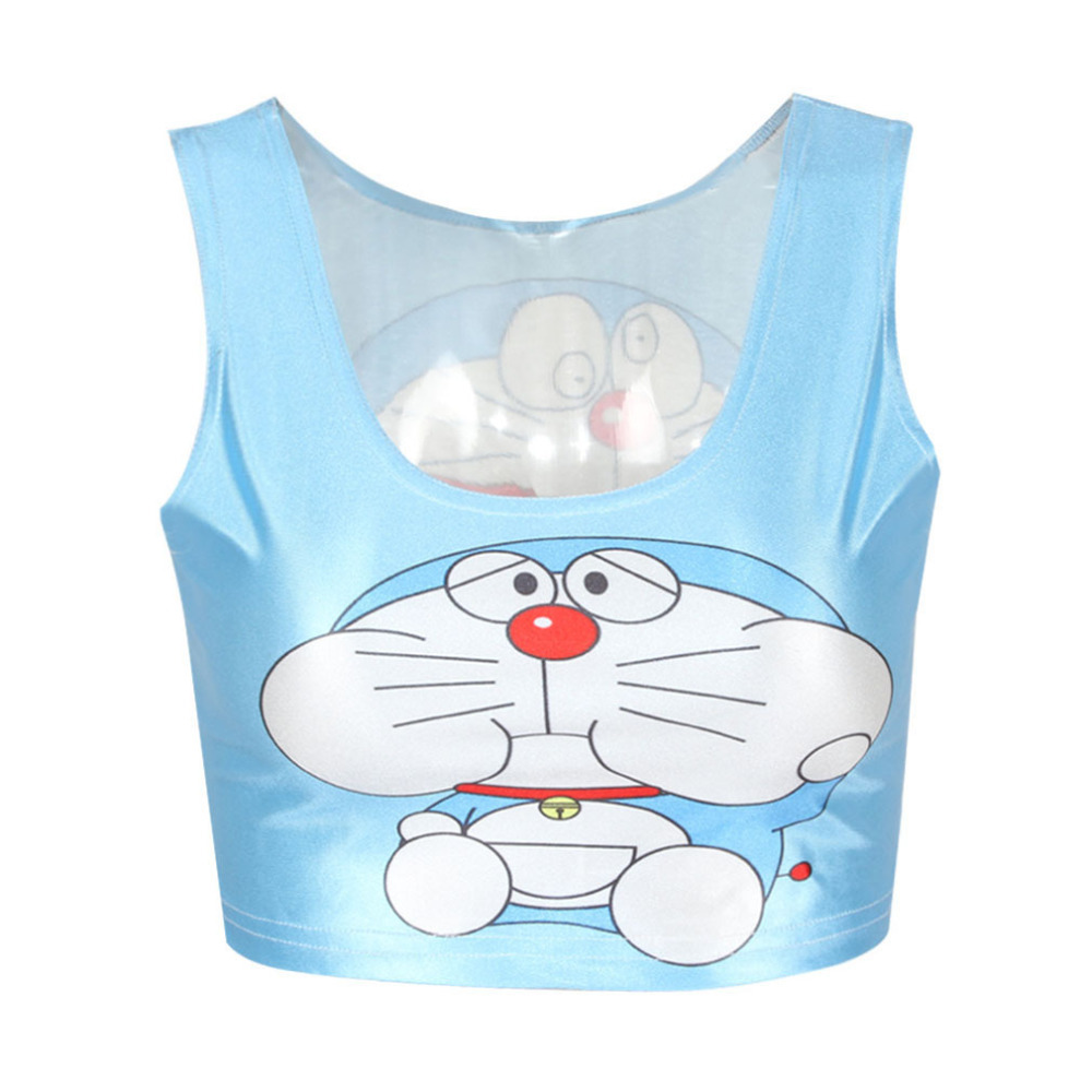EAST KNITTING Brand new 2015 Women t-shirt Fashion Doraemon Cartoon Print Crop top blue camisole saxy Vest