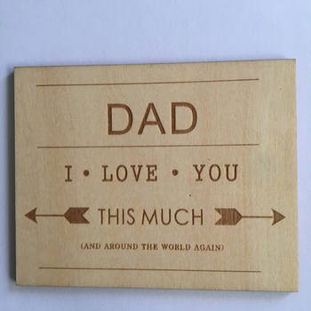 I Love You Dad Wood Card Fathers Day Or Dad Birthday Card Buy