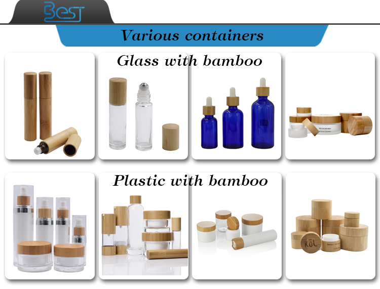 eco friendly packaging 30ml 50ml 100ml blue essential oil glass  bamboo dropper bottle for cosmetic products