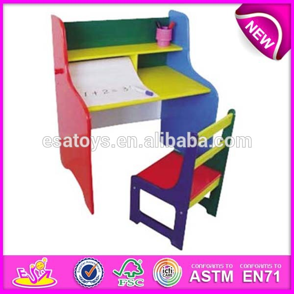 Colorful Wooden Kids Study Desk And Chair Set Dual Purpose Hy Children
