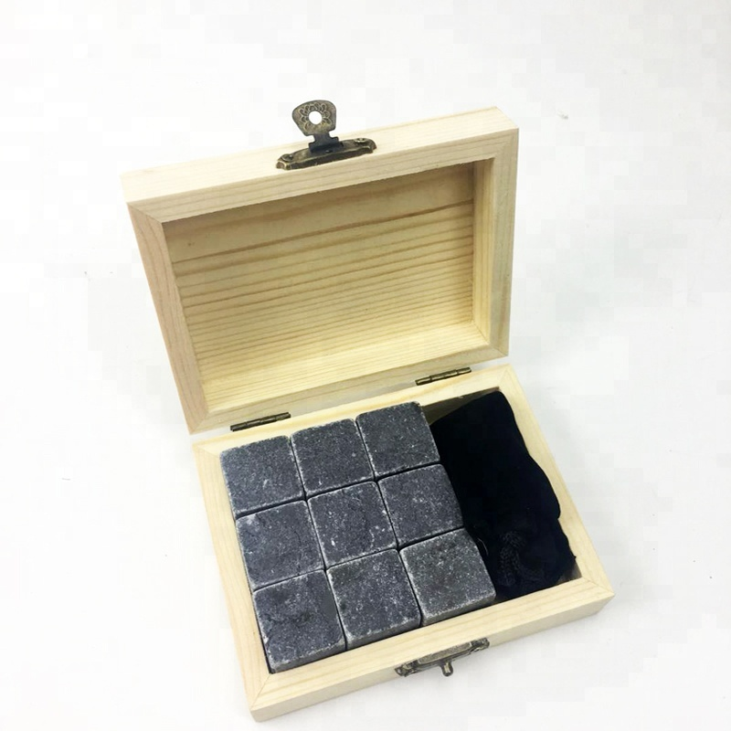 Whisky Stones Chilling Rocks Ice Cubes in Wood Gift Set for cooling <strong>Wine</strong> Rouge/Beverage/Juice/Soda