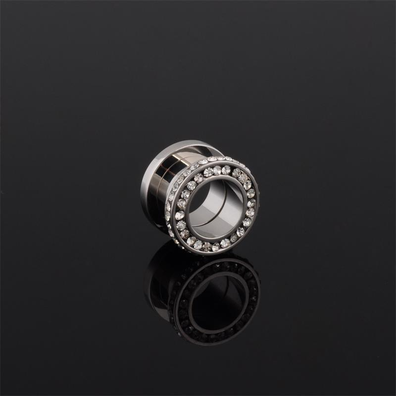 New style surgical steel screw fit double jeweled flesh tunnel earrings body jewelry