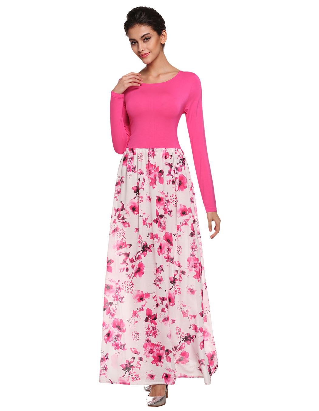 Elegant Maxi Dress Women Splicing Floral Dress 2016 Spring ...