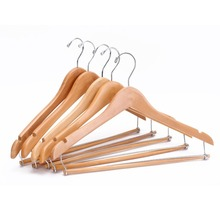 Inspring Contoured Wooden Suit Hangers With Sturdy Locking Bar, Clothing Hangers Organization, Natural finished