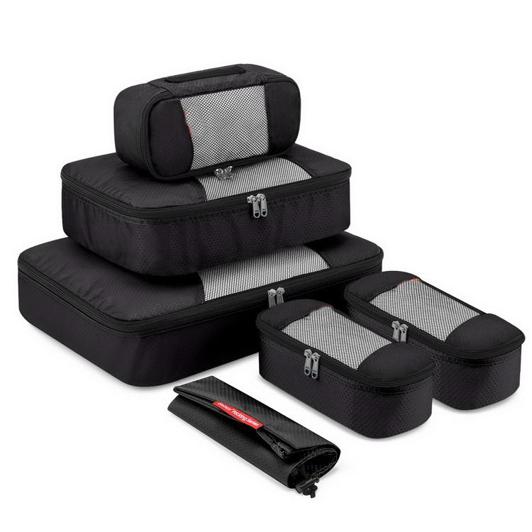 Оптовая Продажа Черный 6 шт набор упаковочных кубов для путешествий багаж упаковочные органайзеры Пользовательский логотип