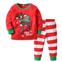 HYN04 Children Sleepwear Boys Girls Family Christmas Pajamas Toddler Baby Pyjamas Cartoon Kids Pajama Set High Quality
