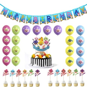 Cute Baby Shark Party Supplies Happy Birthday Banner Set for Kids and Adults Birthday Party Decorations