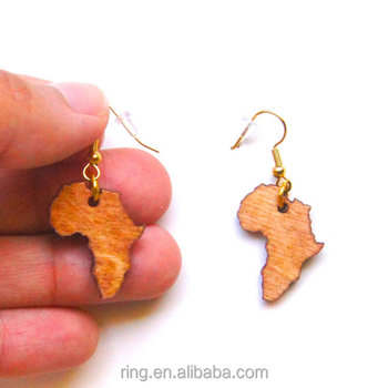 Africa Map Jewelry Girl Wooden Earrings Wood South Africa Map