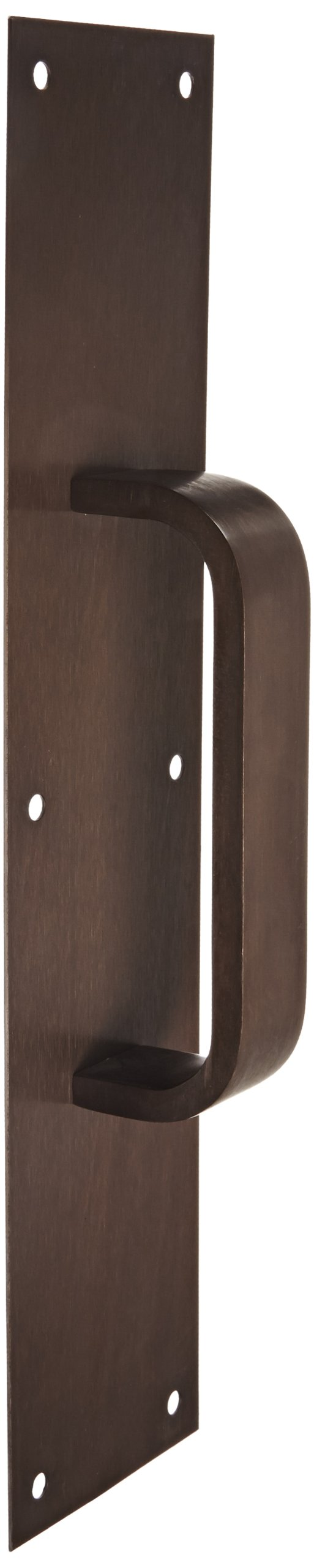 "Rockwood 122 X 70C.10B Bronze Pull Plate, 16"" Height x 4"" Width x 0.050"" Thick, 6"" Center-to-Center Handle Length, 1-1/4"" Handle Width, 3/8"" Handle Thickness, Satin Oxidized Oil Rubbed Finish"