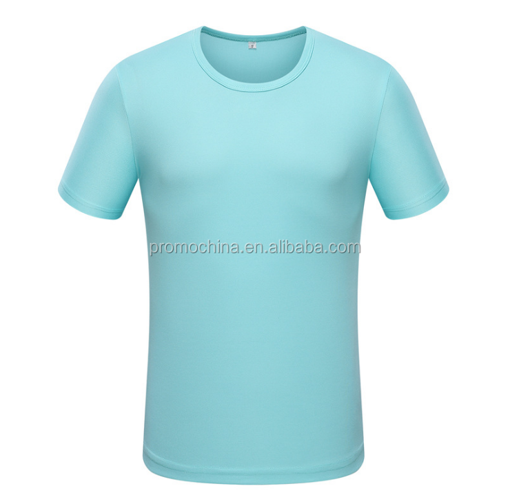 Custom Made 100% Polyester Dry Fit Sport T Shirt Blue Short Sleeve Mens T Shirt For Summer