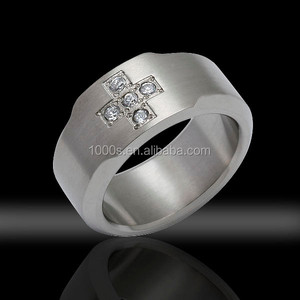cheap wholesale stainless steel engagement ring with CZ
