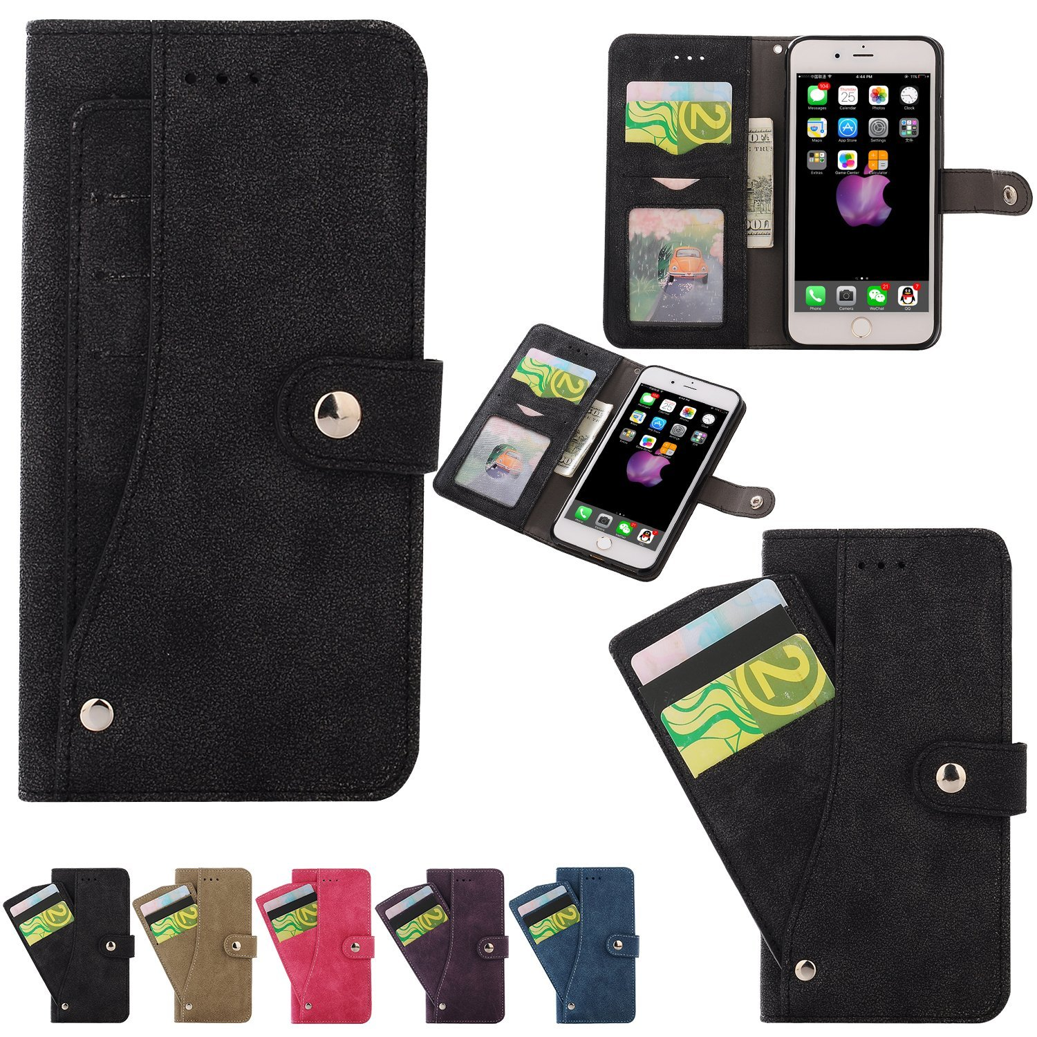 iPhone 7 Plus Case, LONTECT PU Leather Flip Wallet Case Cover Stand with 6 Card Slots Holder for Apple iPhone 7 Plus - Black
