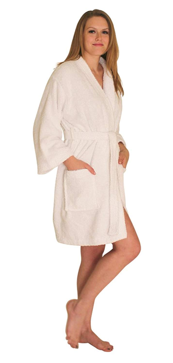 a0d3eb7988 Get Quotations · NDK New York Women s Terry Cloth Short Robe and Swimsuit  Coverup 100% Cotton