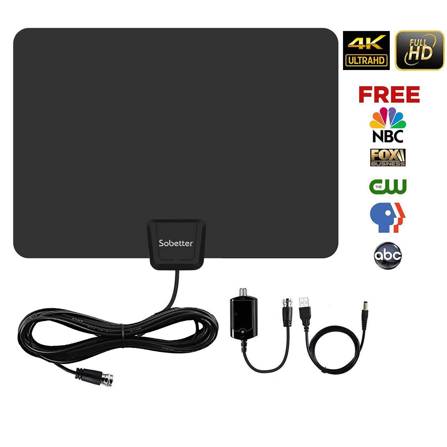 TV Antenna - Digital HD TV Antenna 50-80 Miles Range [2018 Upgraded] Compatible 4K 1080P Free TV Channels,Powerful Detachable Amplifier Signal Booster,Longer Coax Cable for All TVs