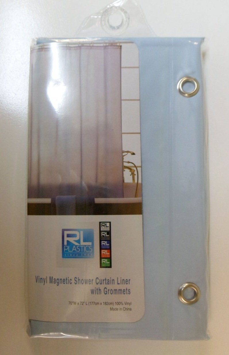 """RL Plastics 100% Vinyl Light Blue Magnetic Shower Curtain Liner with Grommets, Mildew and Water Resistant Standard Size 70"""" X 72"""""""