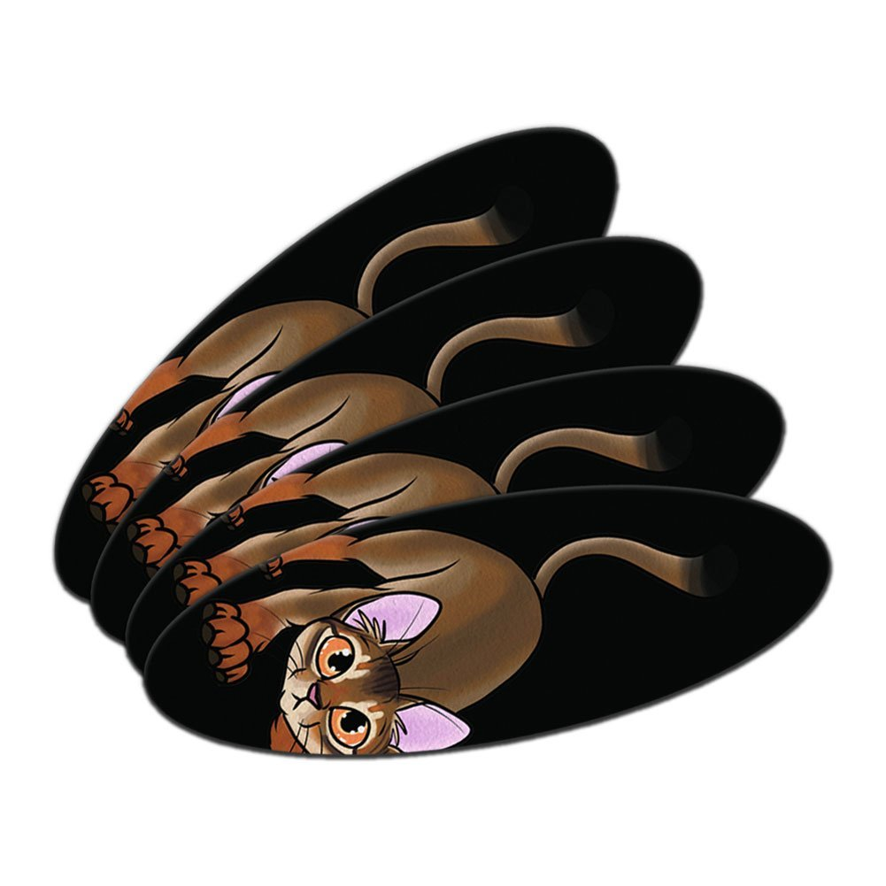 Abyssinian Cat On Black - Pet Double-Sided Oval Nail File Emery Board Set 4 Pack