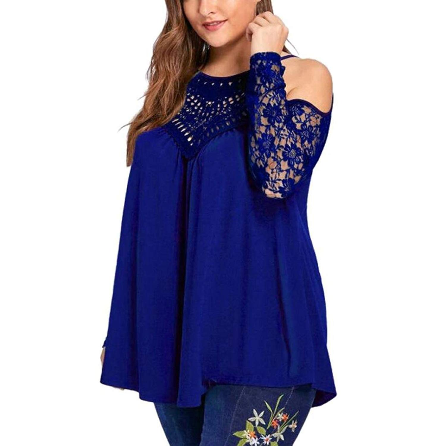 60271d45 Get Quotations · Women Blouse,Haoricu Clearance!Fashion Womens Sexy  Strapless Pullover Plus Size Lace Blouse Long