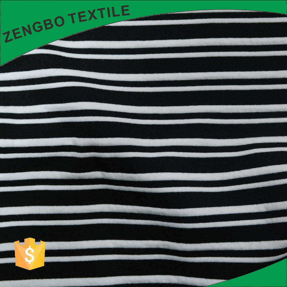 95 polyester 5 spandex plain dyed black and white stripe brushed terry cloth fabric