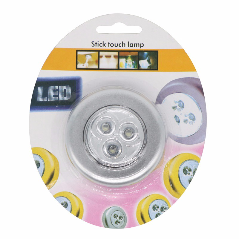 Round Led Night Lighting 3 Led Press Down Stick Touch Lampnight ...