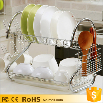 Kitchen Electroplated Stainless Steel S Shape 2 Tier Dish Drying Rack
