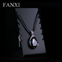 FANXI China Factory Cheap Matte Black Necklace Pendant Display Wholesale Glossy Acrylic Jewelry Stand