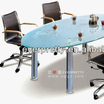 Glass Top Conference Table/Oval Glass Conference Table/Glass Top Meeting  Table