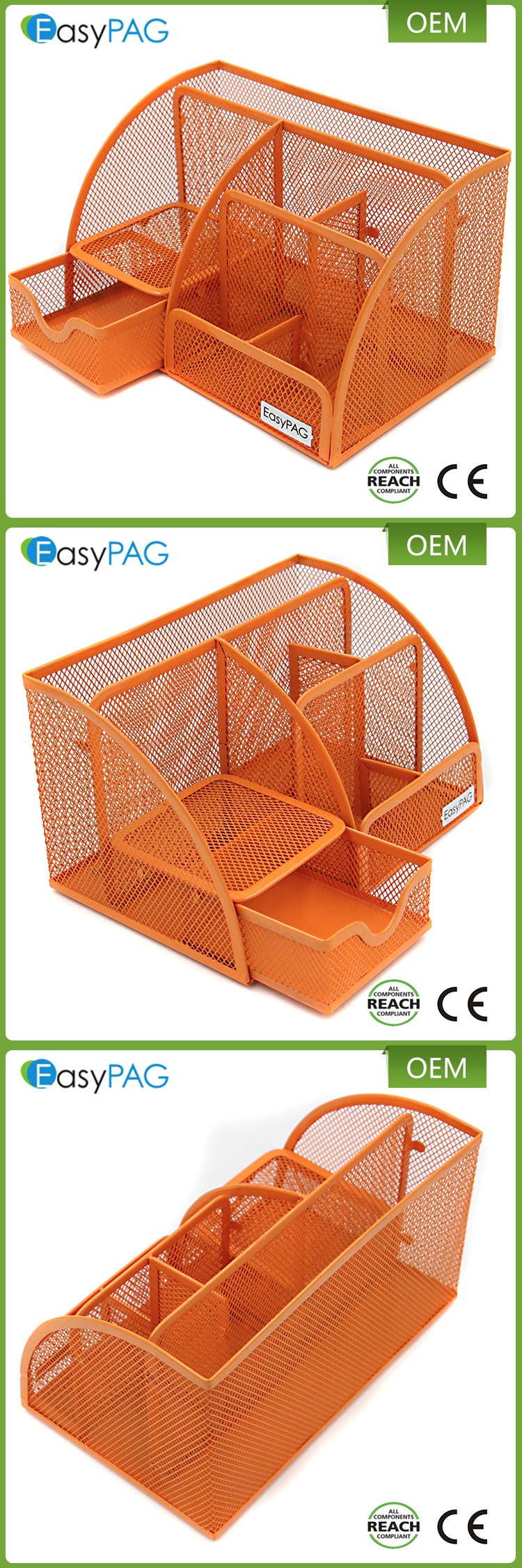 6 Compartments Orange Metal Mesh Collection Supply Caddy Desk Organizer