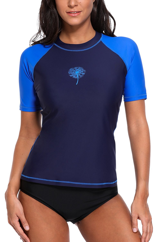0f18004750 Sociala Women s Short Sleeve Rash Guard Swim Shirt UPF 50+ Rashguard  Swimsuit