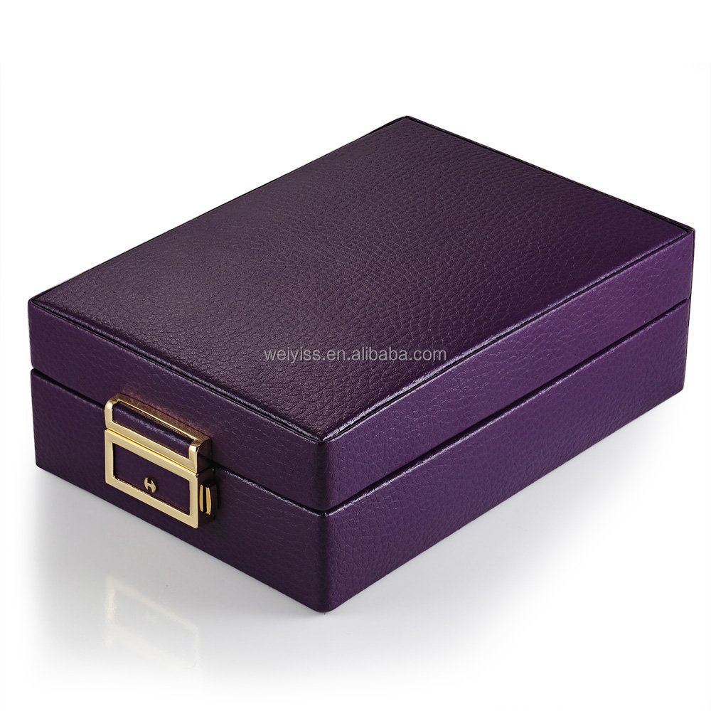 Generic Leather Purple Double Layer Travel Jewelry Organizer Storage Case Box with Lock & Mirror
