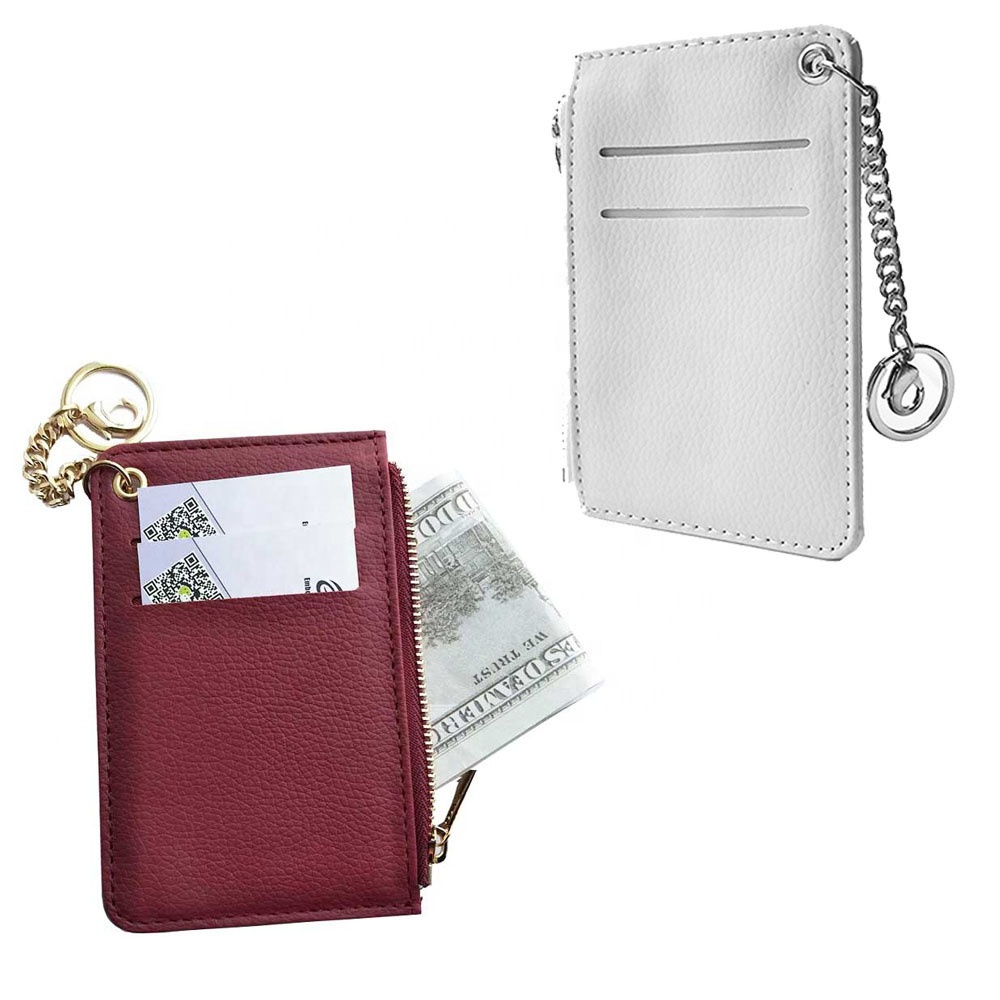 Cosmetic Bags Credit Card Holder Zipper Purse Coin Wallet with Attached Keychain