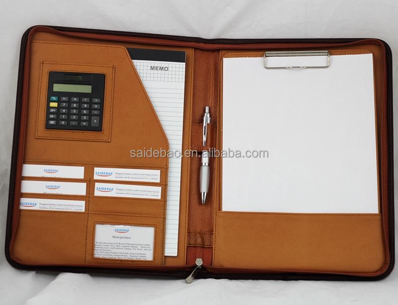 Zippered A4 Leather Portfolio Folders Custom Men Portfolio