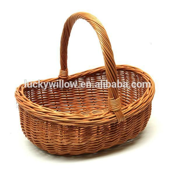 large wicker garden basket with handle buy large wicker garden basket woven garden wicker. Black Bedroom Furniture Sets. Home Design Ideas