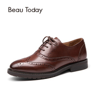 Women Oxford Shoes Cow Leather Brogue Style Wholesale Autumn Ladies Casual Shoes Flat 21069