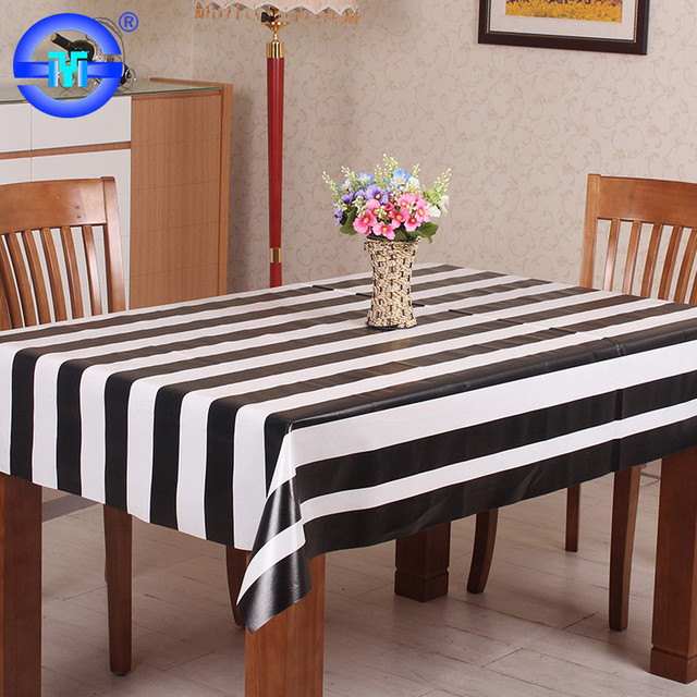 Factory Wholesale Cheap Hot Selling Black And White Striped Plastic  Tablecloth Roll Hard Plastic Table Protector