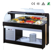 luxury wooden salad bar counter refrigerated commercial wood refrigerator cabinet for buffet display