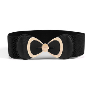 Women Stretchy Vintage Classic Dress Belt Elastic Waist Cinch Belt with Bow Metal Buckle