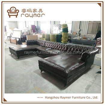 Antique Dark Brown Chesterfield Sofa Genuine Leather Sectional Sofa